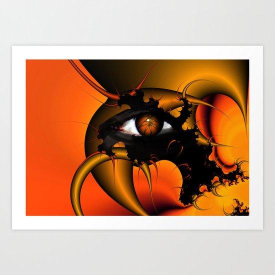 Orange fractal eye Art Print