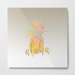 Metallic silver faux gold glitter tropical aloha pastel pineapple Metal Print