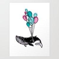 Balloons Whale II Art Print