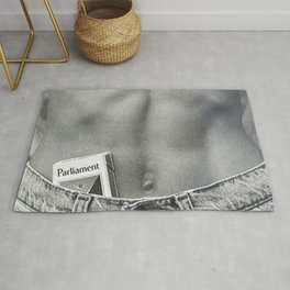 Pack of Parliament's, Bare Midriff black and white photograph / photography Rug