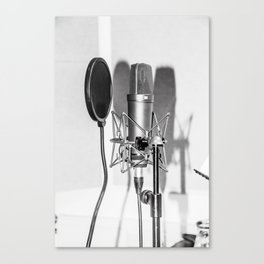 Microphone black and white Canvas Print