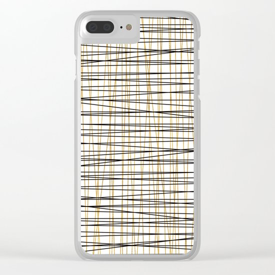 Line Art-Gold and Black Lines on White-Mix and Match with Simplicty of Life Clear iPhone Case