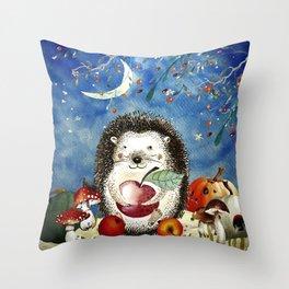 Autumn Woodland Friends Hedgehog Forest Illustration Throw Pillow