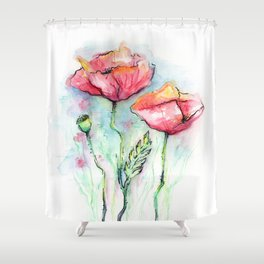 Poppies Watercolor Sketch Red Flowers Shower Curtain