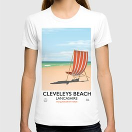 Cleveleys Beach, lancashire vintage travel poster T-shirt