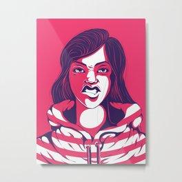 Bad Striped Girl 02 Metal Print