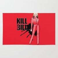 kill bill Area & Throw Rugs featuring Kill Vampire Bill (Red Version) by AriesNamarie
