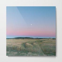 Moon Over The Horizon Gradient Metal Print
