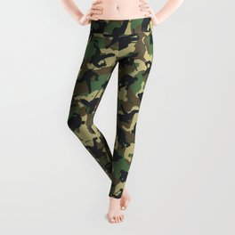 Ice Hockey Player Camo Woodland Forest Camouflage Pattern Leggings