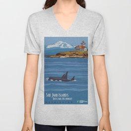 Vintage Poster - San Juan Islands National Monument, Washington (2015) Unisex V-Neck