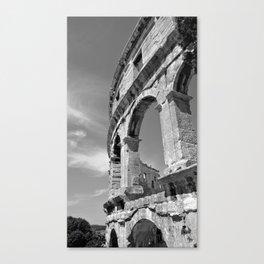 arena amphitheatre pula croatia ancient high black white Canvas Print