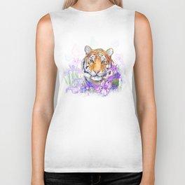 Tiger and flowers iris Biker Tank