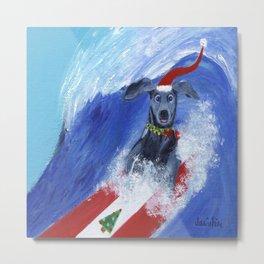 Christmas Surfing Weimaraner Metal Print