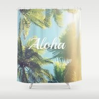 aloha Shower Curtains featuring Aloha by Pink Berry Patterns