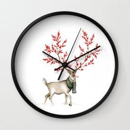 Rudolph the Winterberry Antler'd Reindeer Wall Clock