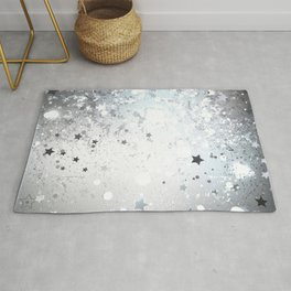 Silver Background with Stars Rug