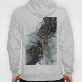 Stormy Black Gold Marble | Abstract Ink Hoody
