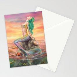 fantasy mermaid at amazing sunset Stationery Cards