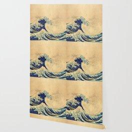 Hokusai parchment Wallpaper