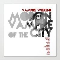 modern vampires of art history Canvas Prints featuring Vampire Weekend - Modern Vampires of the City / Album Cover Art LP Poster  by FunnyFaceArt