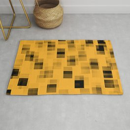 Yellow and black squares abstract art Rug