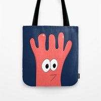 greg guillemin Tote Bags featuring Monster Greg by Chelsea Herrick