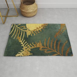 Golden Cycas leaves on dark green canvas Rug