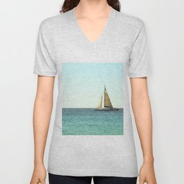 Sail Away with Me - Ocean, Sea, Blue Sky and Summer Sun Unisex V-Neck