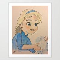 frozen elsa Art Prints featuring Elsa - Frozen by disney_dreamerz_