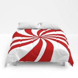festive winter holiday candy land red and white lollipop candy swirls Comforters