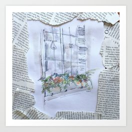 nyu windowbox newsprint collage Art Print