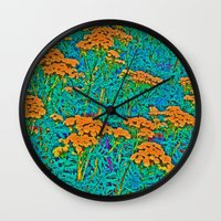 weed Wall Clocks featuring Weed Patch by Anne Millbrooke