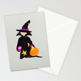 Witch Sorcerer October Halloween Trick or Treat Toddler Stationery Cards