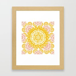 Citrus and Salmon Colored Mandala Textile Framed Art Print