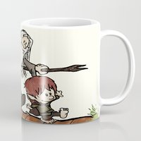 gandalf Mugs featuring Bilbo and Gandalf by Cool Johnny