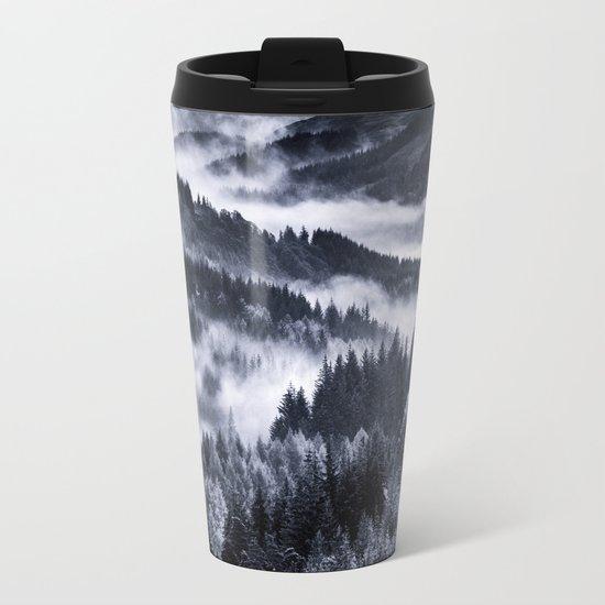 Misty Forest Mountains Metal Travel Mug