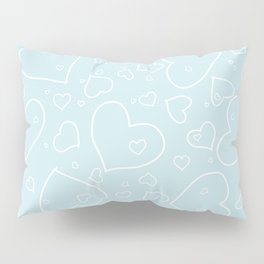 Palest Blue and White Hand Drawn Hearts Pattern Pillow Sham