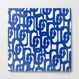 Bright Blue and White Mid-century Modern Loop Pattern  Metal Print