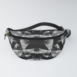 Kaleidoscopic of chaotic black and white glass fragments, irregular cubic figures and ice floes. Fanny Pack