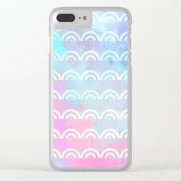 Geometrical pink lilac teal watercolor white scallope pattern Clear iPhone Case