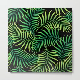Night Jungle. Tropical Pattern / Palm leaves Metal Print
