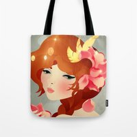 lily Tote Bags featuring Lily by Jenny Lloyd Illustration