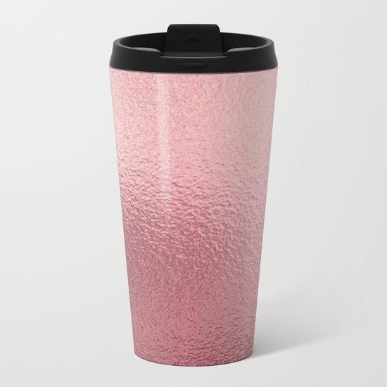 Pure Rose Gold Pink Metal Travel Mug