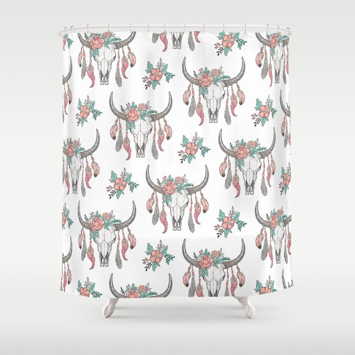Boho Longhorn Cow Skull With Feathers And Peach Flowers Shower Curtain