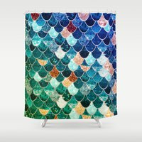 tiffany Shower Curtains featuring REALLY MERMAID TIFFANY by Monika Strigel