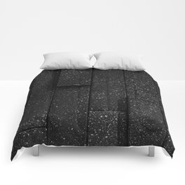 white speckled contrasted bricks - black and white Comforters