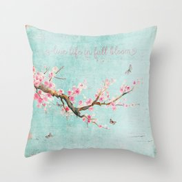 Live life in full bloom - Romantic Spring Cherry Blossom butterfly Watercolor illustration on aqua Throw Pillow