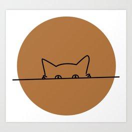 curious but shy cat Art Print