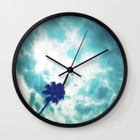 palm Wall Clocks featuring Palm by Leandro
