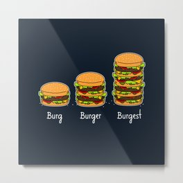 Burger explained 2. Burg. Burger. Burgest. Metal Print